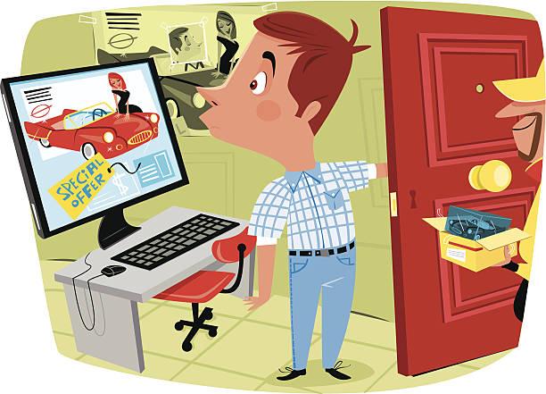 Hombre compra en línea y obtenga algo falla - ilustración de arte vectorial