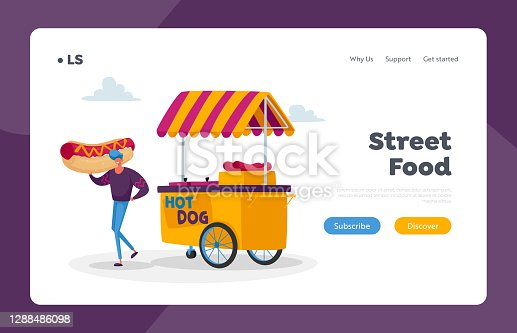 istock Man Buying Street Food, Takeaway Junk Meal from Food Truck Landing Page Template. Restaurant Wagon Transport on Wheels 1288486098