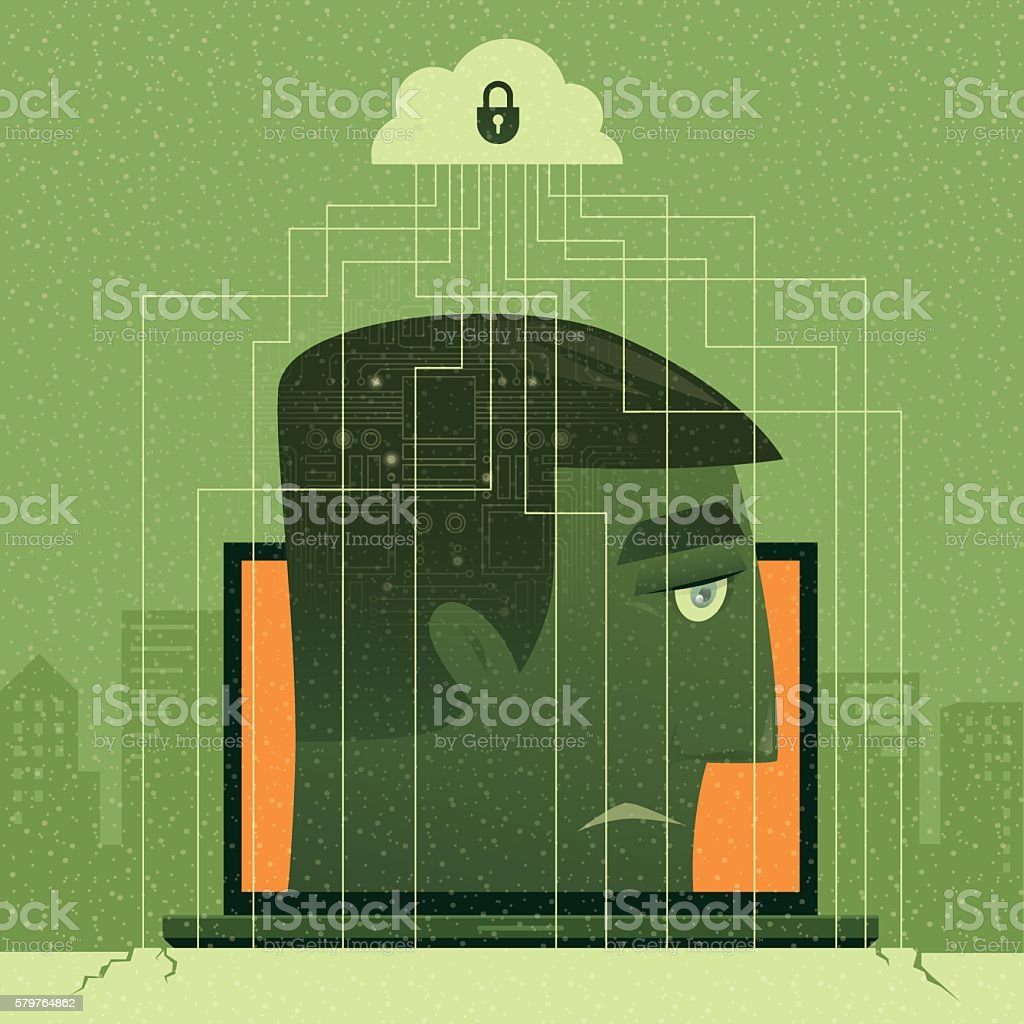 man caged by internet vector art illustration