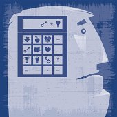 vector illustration of man calculating silhouette…