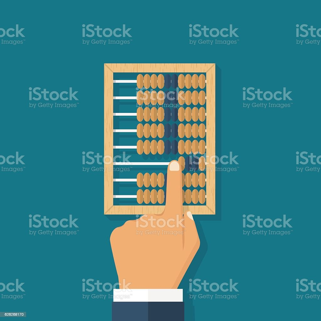 Man calculation in accounts vector art illustration