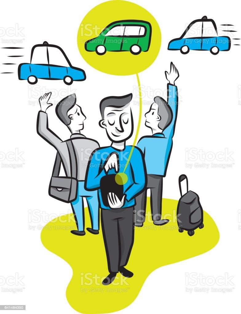 A man calls a car from his smartphone app vector art illustration