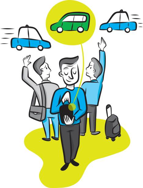 A man calls a car from his smartphone app A man calls a car using a ride sharing app while two other men compete to hail a cab. hailing a ride stock illustrations