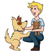 Young man caring cute dog and cat, cartoon character, vector illustration, isolated white background