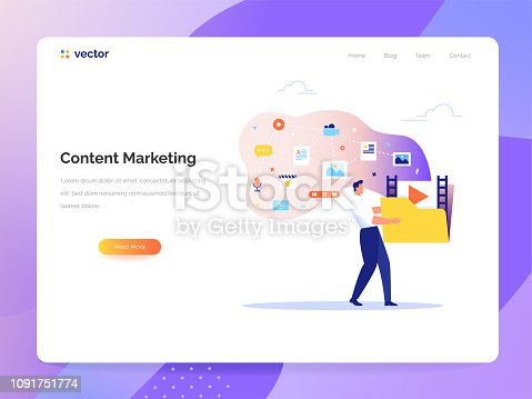 Content Marketing and Blogging concept in flat design. A man carries a large folder with media files. Creating, marketing and sharing of digital - vector illustration.