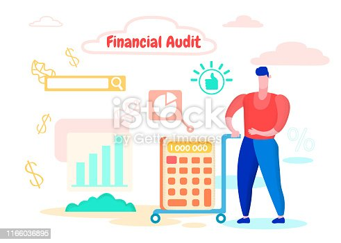 Man Red Shirt Carries Calculator with Big Amount on Cart. Financial Audit. Profit Increase Statistics. Hand Over General Report. Successful Business. Vector illustration. Analysis and Statistics.