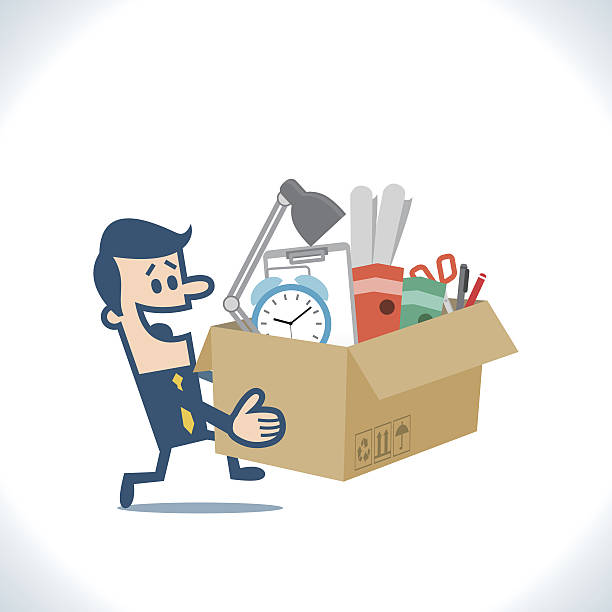 man carry boxes with his work moving to new office - umzugskartons stock-grafiken, -clipart, -cartoons und -symbole
