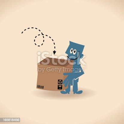 istock Man Carrying An Opened Carton Box 165818456