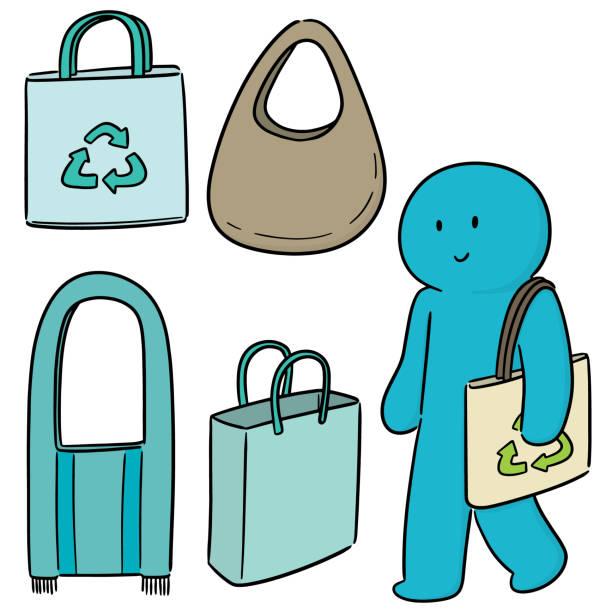 mann-tragetasche - stoffmarkt stock-grafiken, -clipart, -cartoons und -symbole