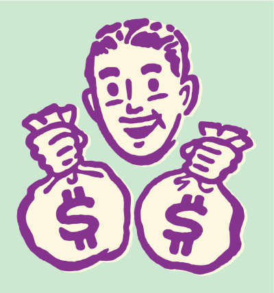 Man carrying bags of money illustration