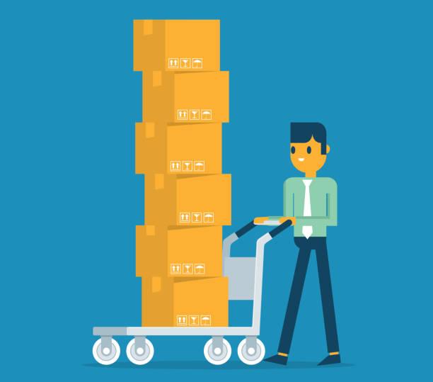 man carrying cardboard boxes - wózek transportowy stock illustrations