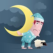 vector illustration of tired man with crescent moon and sheep…