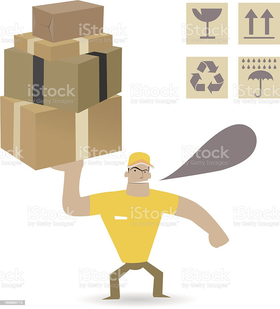 Man carrying heavy carton boxes ( Moving and Delivery  ) royalty-free stock vector art