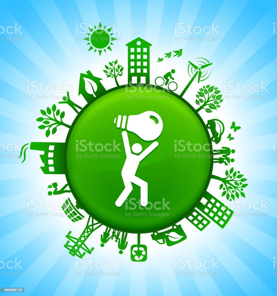Man Carrying Ligh Bulb Environment Green Button Background on Blue Sky - Royalty-free Alternative Energy stock vector