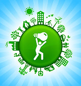 Man Carrying Ligh Bulb Environment Green Button Background on Blue Sky. The main icon is placed on a round green shiny button in the center of the illustration. Environmental green living lifestyle icons go around the circumference of the button. Green building, man on a bicycle, trees, wind turbine, alternative energy and other environmental conservation symbols complete this illustration. The background has a blue glow effect.
