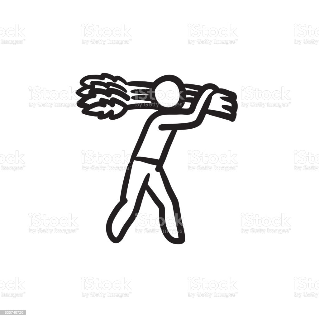 Man carrying wheat sketch icon vector art illustration