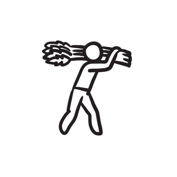 ilustraciones, imágenes clip art, dibujos animados e iconos de stock de hombre dibujo iconos de transporte de trigo - straw field