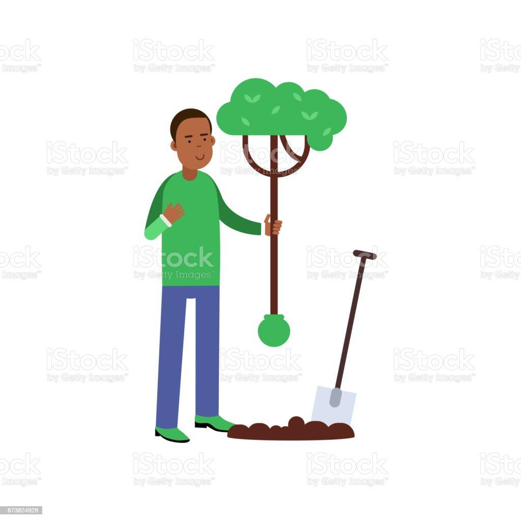 Vetores De Personagem De Desenho Animado Do Homem Plantando Uma