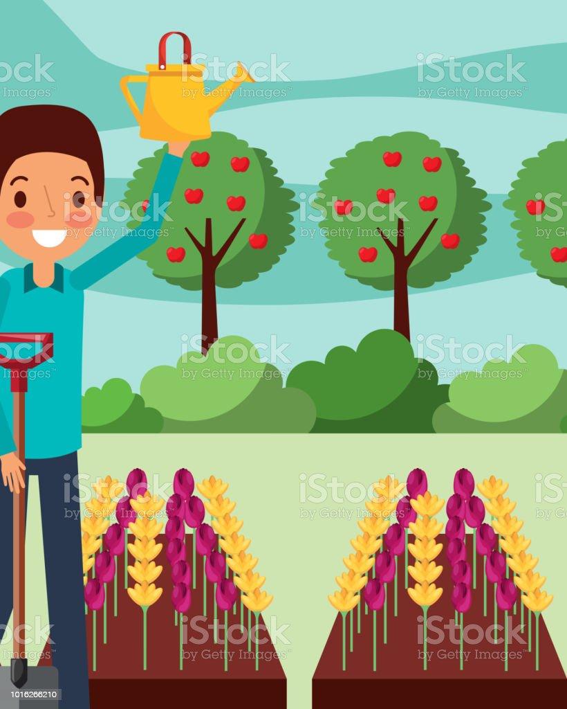 Manncartoon Blumen Mit Schaufel Garten Giessen Stock Vektor Art Und