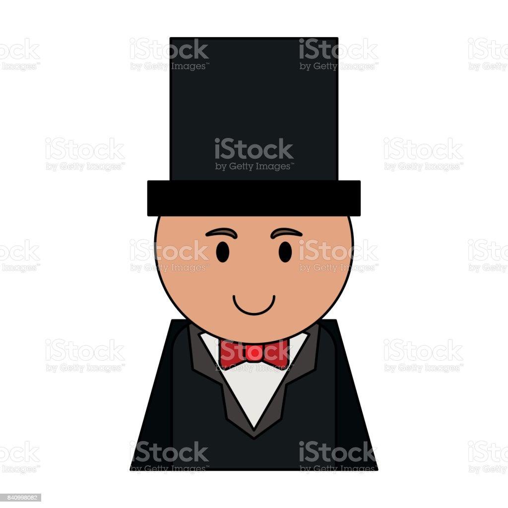 dibujos animados hombre traje con sombrero de Copa imagen de icono  ilustración de dibujos animados hombre 7daa21e7317