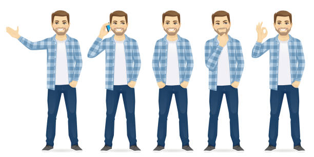 ilustrações de stock, clip art, desenhos animados e ícones de man casual clothers - homem casual standing sorrir