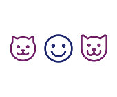 Man, cat and dog face icon
