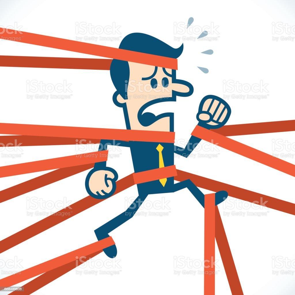 Man caught in red tape vector art illustration