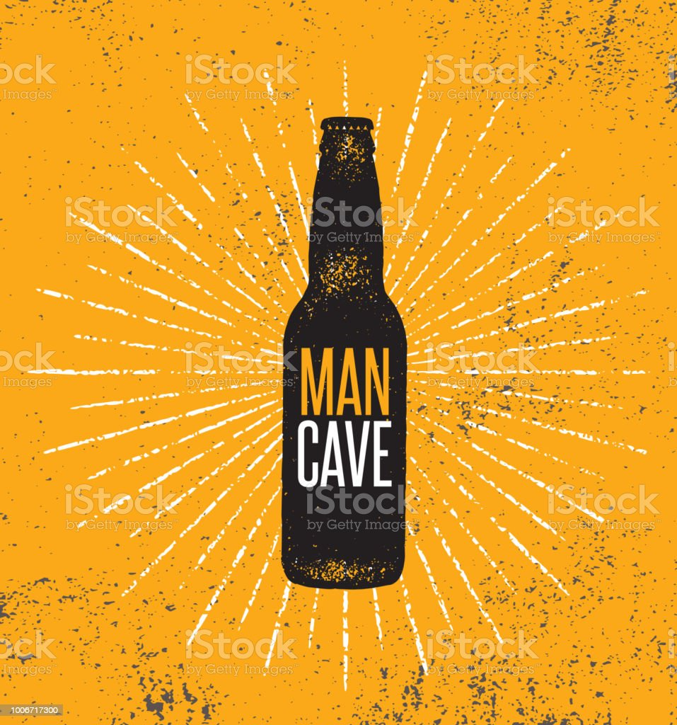 Man Cave Rules With Beer Bottle. Creative Poster Design Concept With Grunge Frame And Rough Distressed Texture. - Векторная графика Антиквариат роялти-фри