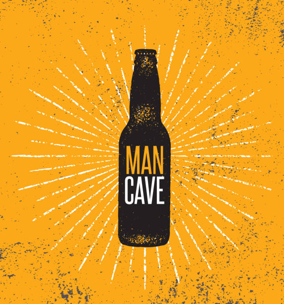 Man Cave Rules With Beer Bottle. Creative Poster Design Concept With Grunge Frame And Rough Distressed Texture. Man Cave Rules With Beer Bottle. Creative Poster Design Concept With Grunge Frame And Rough Distressed Texture beer stock illustrations