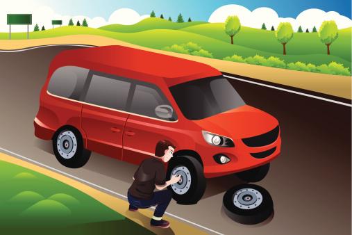 Man changing flat tire