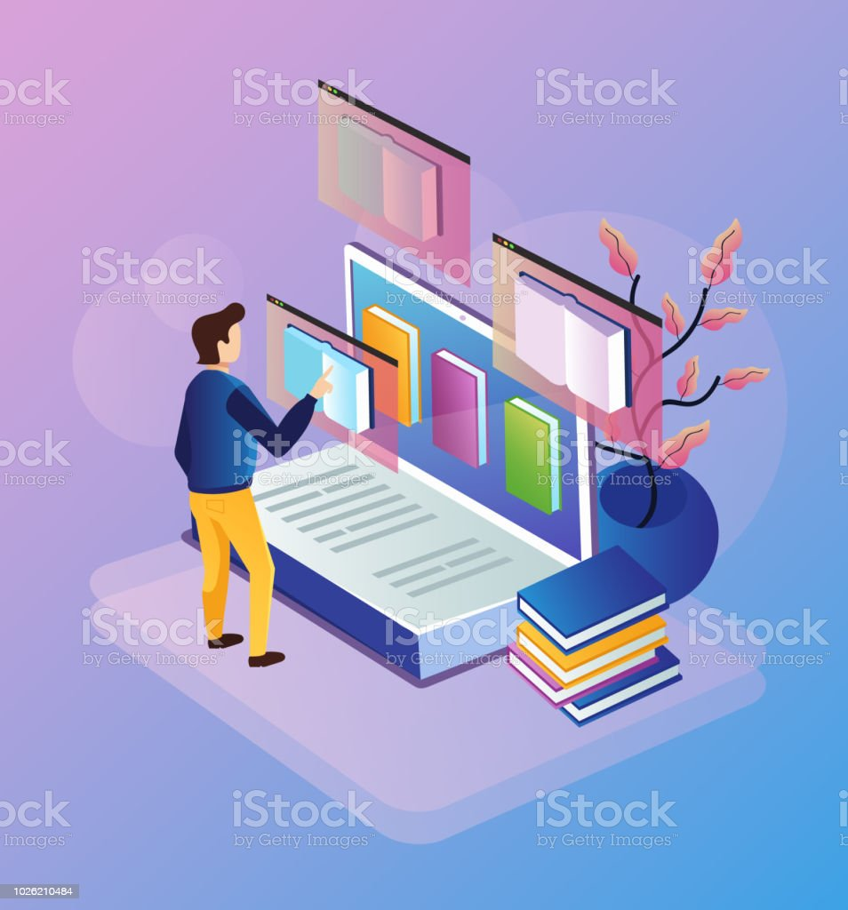 Man character choosing books on laptop reader tutorial device gadget pc. Online web e-book library education database documentation learning. Vector isometry flat cartoon isolated concept banner illustration vector art illustration