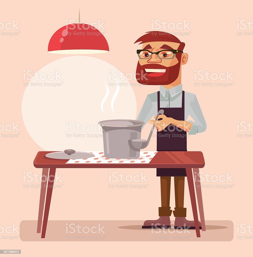 Man character cook soup. Vector flat cartoon illustration vector art illustration