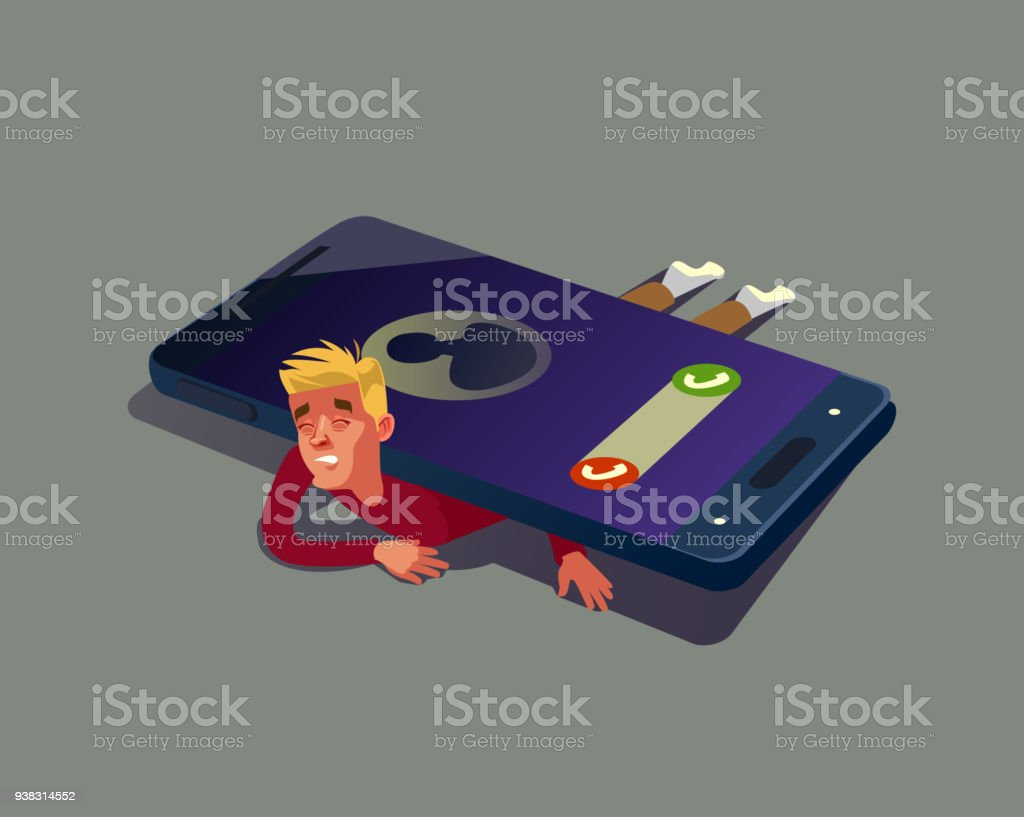 Man character depend on smartphone vector art illustration