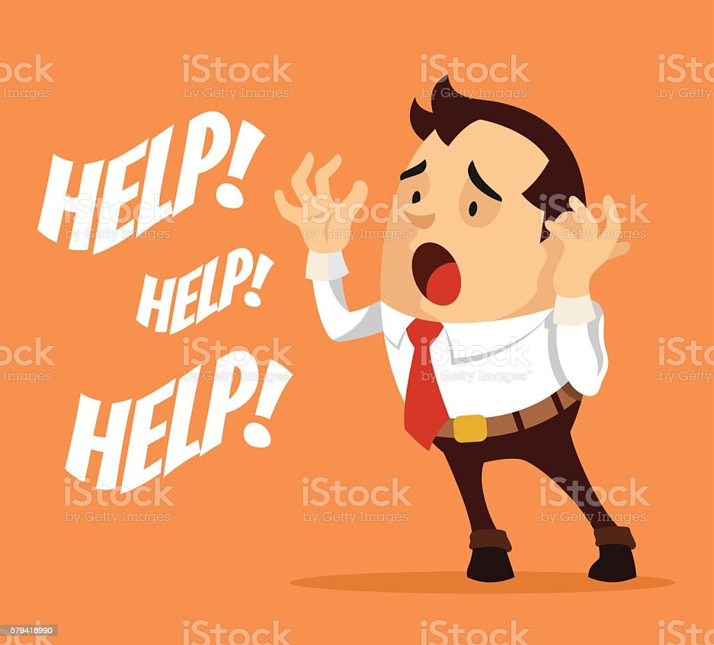 Man character need help. Vector flat cartoon illustration vector art illustration