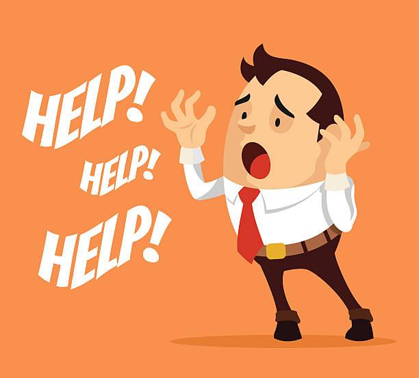 Man character need help. Vector flat cartoon illustration vector art illustration