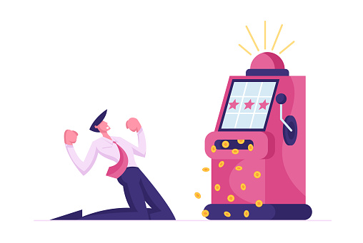 Man Character Playing Gambling Games in Casino Win Jackpot Money Prize on Slot Machine. Man Gambler Addiction, One-armed Bandit Player. Vegas Nightlife Business Industry. Cartoon Vector Illustration