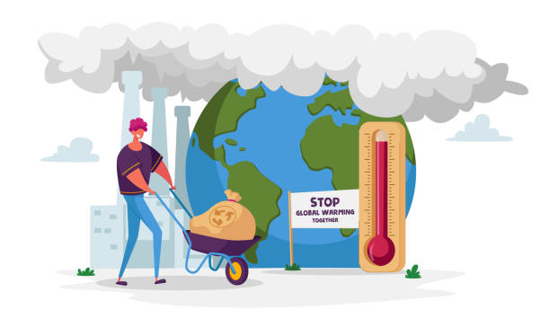 Man Character Pushing Wheelbarrow with Garbage Sack for Recycling Passing Huge Thermometer with High Temperature on Earth. Environment Nature Pollution, Global Warming. Cartoon Vector Illustration Man Character Pushing Wheelbarrow with Garbage Sack for Recycling Passing Huge Thermometer with High Temperature on Earth. Environment Nature Pollution, Global Warming. Cartoon Vector Illustration plastic pollution stock illustrations