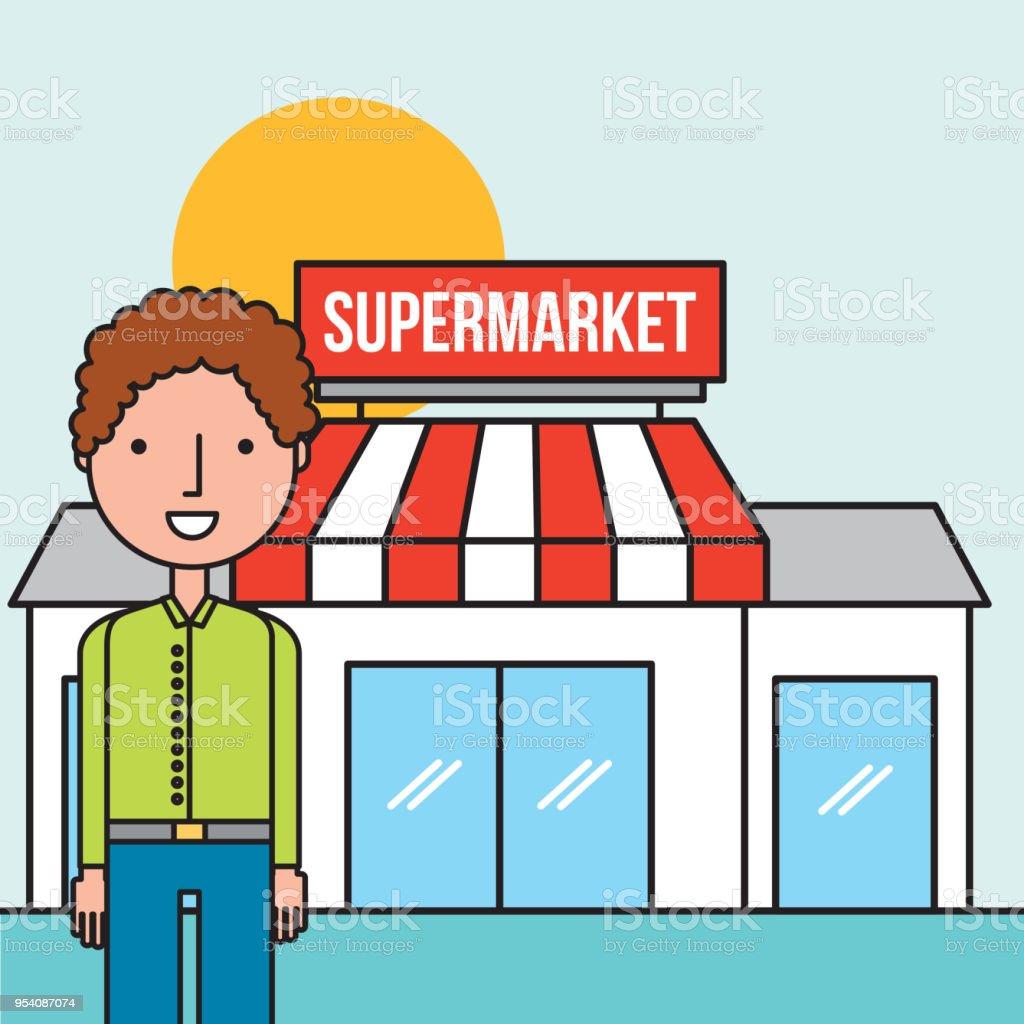 Mann Charakter stehen vorne Supermarkt – Vektorgrafik