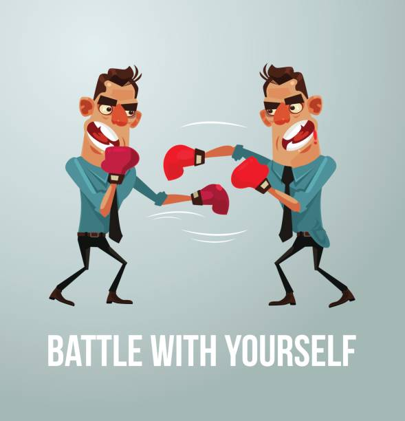 illustrazioni stock, clip art, cartoni animati e icone di tendenza di man character struggles with himself. battle with yourself - box name