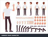Man character vector design. Create your own pose.