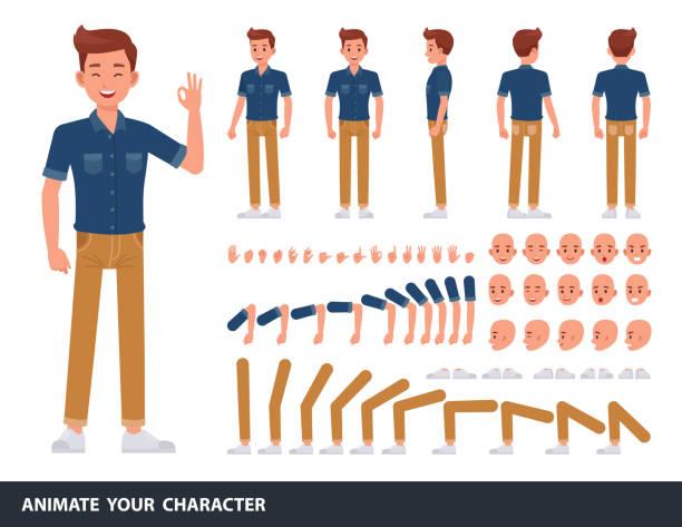 projekt wektora postaci człowieka. stwórz własną pozę. - mężczyźni stock illustrations