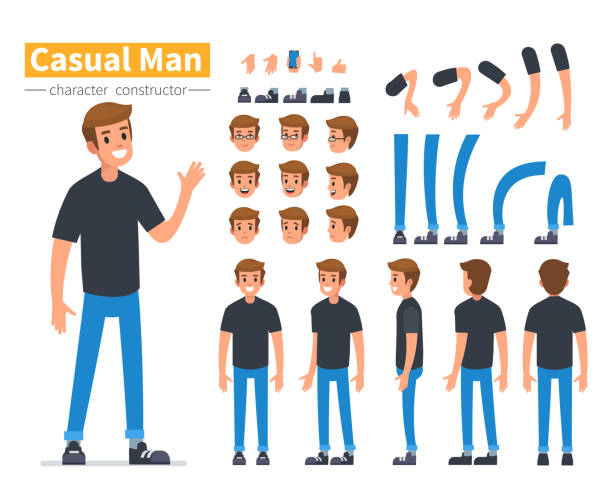 man character Casual man character constructor for animation. Flat style vector illustration isolated on white background. back stock illustrations