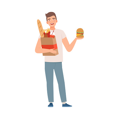 Man character with fast food vector illustration