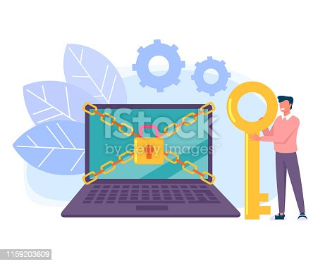 Man characters holding key and unlock privacy laptop pc personal data information. Data protection online login password concept. Vector flat cartoon graphic design isolated