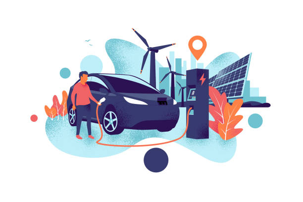 Man Charging an Electric Car with Solar Panels and Wind Power Station and City Skyline Grain Style Electric car charging at charger station with a young man. Renewable power generation with wind turbines and solar panels and city skyline. Isolated vector illustration concept grainy shadow style. hybrid vehicle stock illustrations