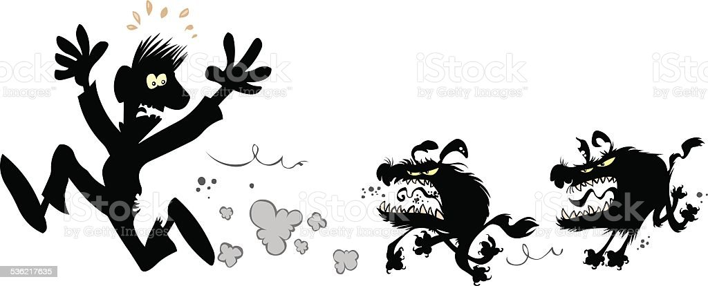Man chased by evil dogs. vector art illustration