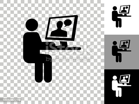 Man Chating on Computer Icon on Checkerboard Transparent Background. This 100% royalty free vector illustration is featuring the icon on a checkerboard pattern transparent background. There are 3 additional color variations on the right..
