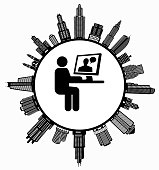 Man Chating on Computer on Modern Cityscape Skyline Background. The main image depicted is placed inside a white circle. The circle is in the center of the illustration. A detailed 100% vector cityscape skyline is placed around the circumference of the circle and includes various office, residential condominium and commercial real estate buildings. The image is black and white. The image is ideal for displaying city life concepts and ideas.