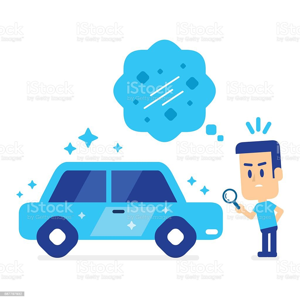 Man Checking for Small Damage on Looking-Perfect Used Car vector art illustration