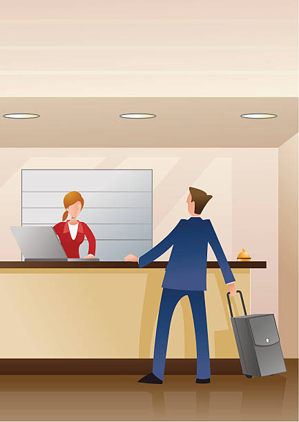 man checking in - receptionist stock illustrations, clip art, cartoons, & icons